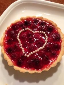 Himbeere Pudding Tartelette Herz